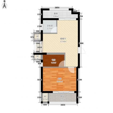 博奥东苑2室1厅1卫1厨67.00㎡户型图