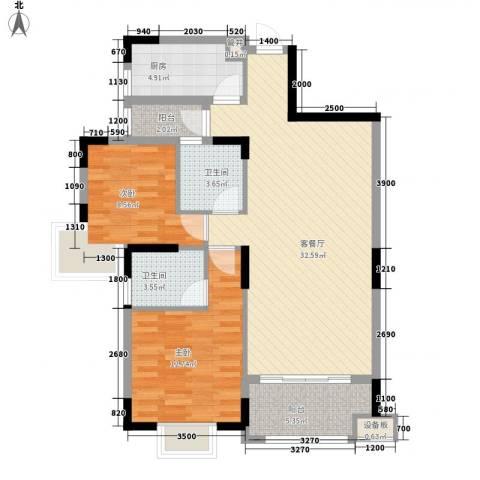 三正财富新地花园2室1厅2卫1厨96.00㎡户型图