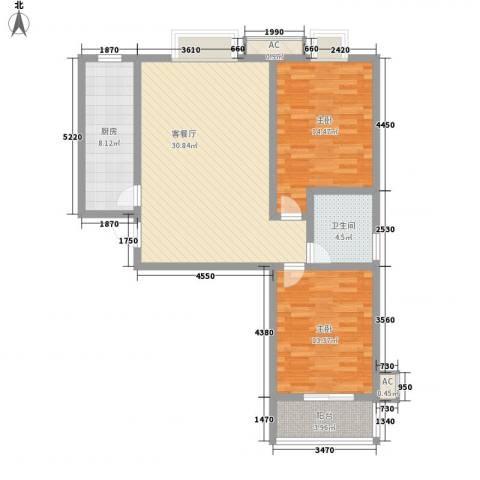 润达小区2室1厅1卫1厨110.00㎡户型图