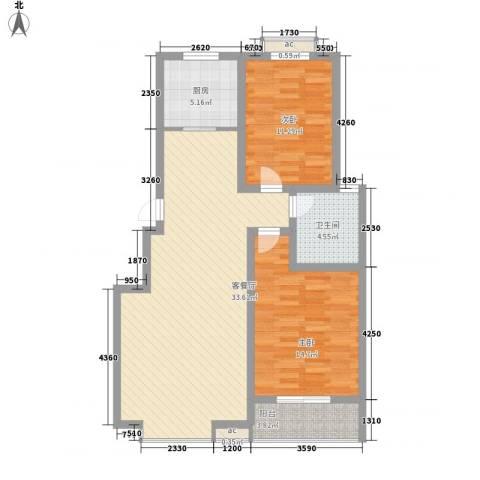 润达小区2室1厅1卫1厨106.00㎡户型图