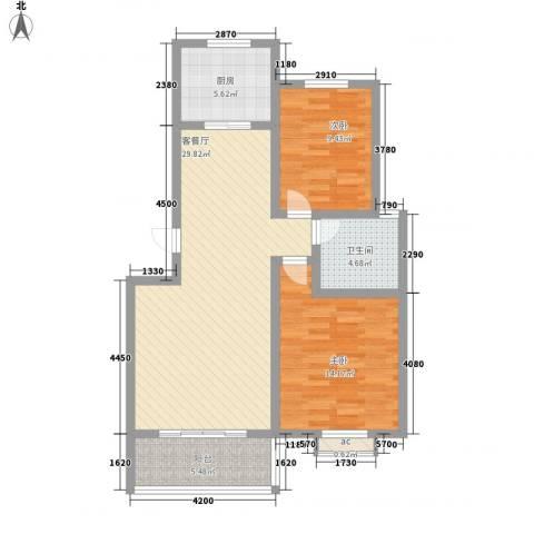 润达小区2室1厅1卫1厨101.00㎡户型图