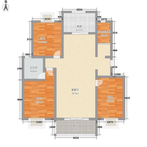 润达小区3室1厅1卫1厨134.00㎡户型图