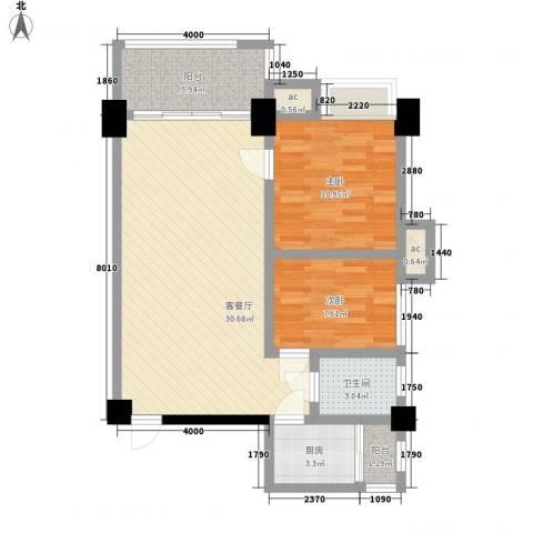伊比亚河畔2室1厅1卫1厨75.51㎡户型图