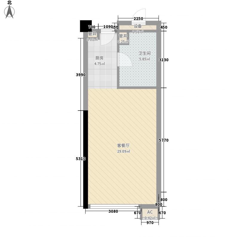 新金山58.21㎡7层标准间户型1室1卫