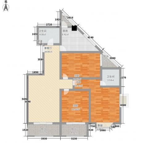 名人雅居沪贵苑3室1厅2卫1厨118.00㎡户型图