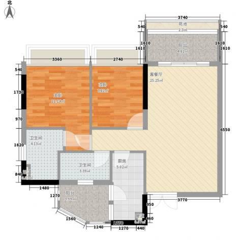 云裳丽影二期2室1厅2卫1厨85.00㎡户型图