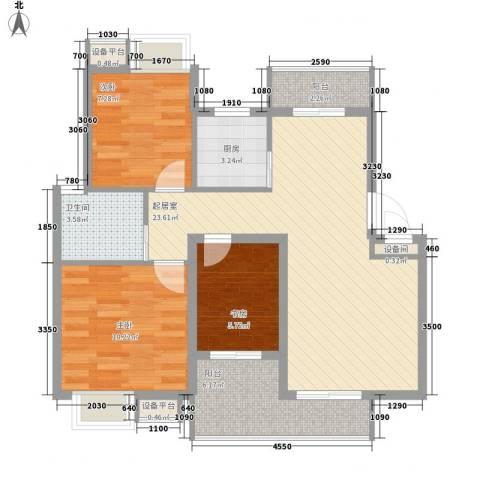 精英名都3室0厅1卫1厨91.00㎡户型图