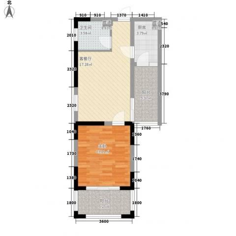 伊比亚河畔1室1厅1卫1厨57.03㎡户型图