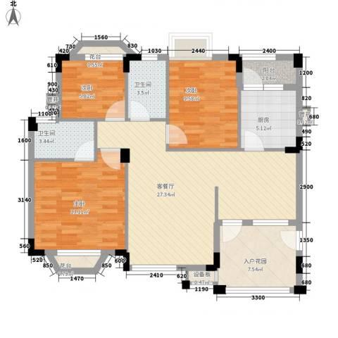 三正财富新地花园3室1厅2卫1厨104.00㎡户型图