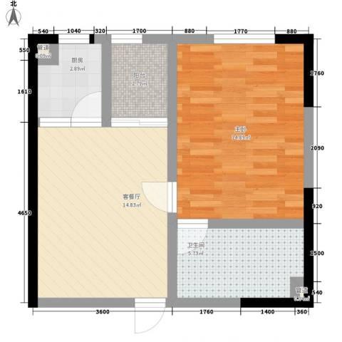 伊比亚河畔1室1厅1卫1厨48.55㎡户型图