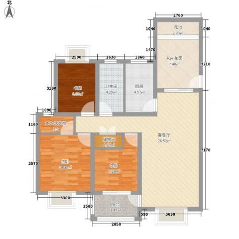 华亭荣园3室1厅1卫1厨112.00㎡户型图