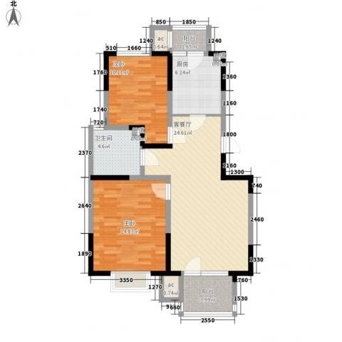 福源九方2室1厅1卫1厨92.00㎡户型图