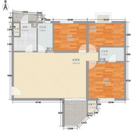 精英名都3室0厅2卫1厨105.00㎡户型图
