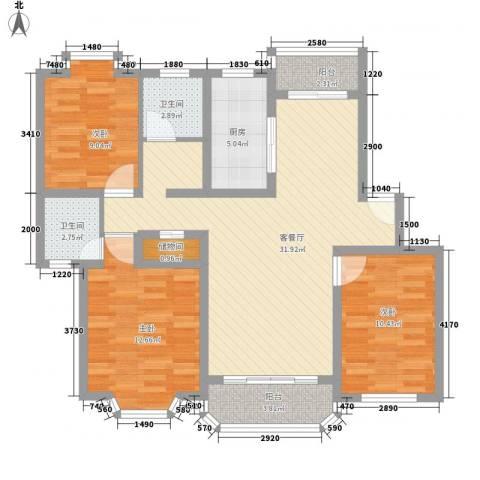 华亭荣园3室1厅2卫1厨120.00㎡户型图