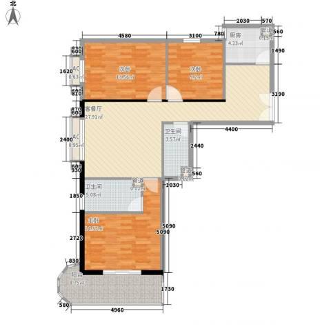 海钻凤凰城3室1厅2卫1厨118.00㎡户型图