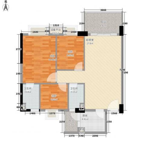 精英名都3室0厅2卫1厨101.00㎡户型图