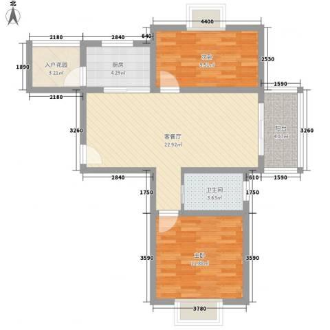 华亭荣园2室1厅1卫1厨87.00㎡户型图
