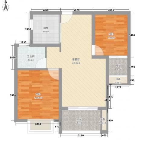 绿地商务城2室1厅1卫1厨85.00㎡户型图