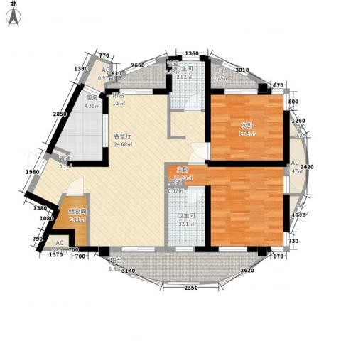 大华锦绣华城公园新纪2室1厅2卫1厨108.00㎡户型图