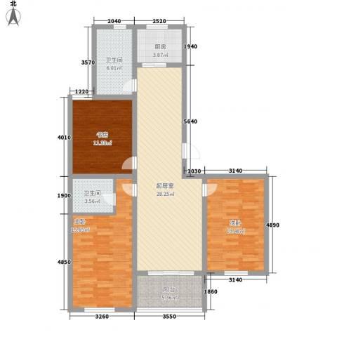 景盛花园3室0厅2卫1厨126.00㎡户型图