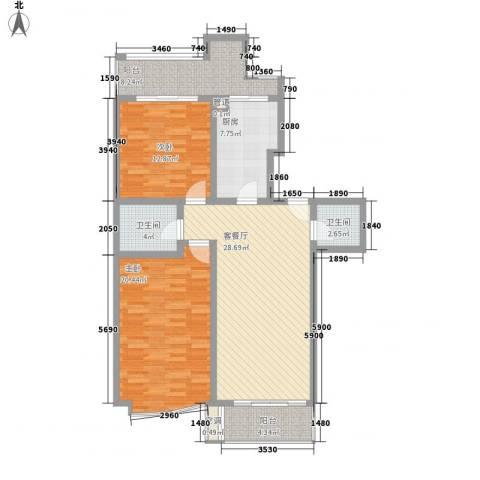 名人雅居沪贵苑2室1厅2卫1厨127.00㎡户型图