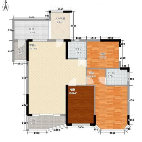江滨花园3室1厅2卫1厨147.00㎡户型图