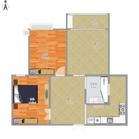 住友家园2室2厅1卫1厨90.00㎡户型图