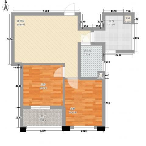 冠华园2室1厅1卫1厨78.00㎡户型图