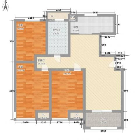 晶龙湾名苑3室1厅1卫1厨123.00㎡户型图