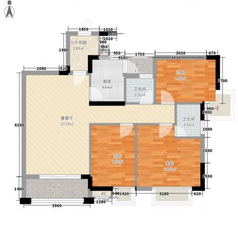 三正财富新地花园3室1厅2卫1厨99.00㎡户型图