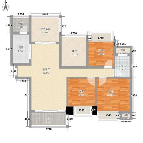 晶蓝上城3室1厅1卫1厨123.00㎡户型图