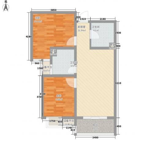 枫景华庭2室0厅2卫0厨56.71㎡户型图