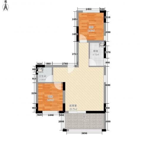 南天・凤凰城2室0厅1卫1厨76.00㎡户型图