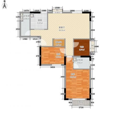 君华上域3室1厅2卫1厨114.00㎡户型图