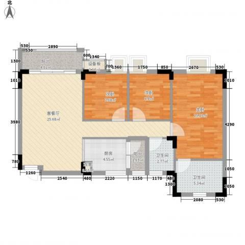 三正财富新地花园3室1厅2卫1厨97.00㎡户型图