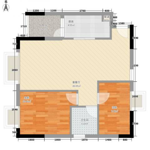 君华上域2室1厅1卫1厨78.00㎡户型图