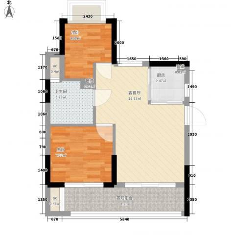 KPR佳兆业广场2室1厅1卫1厨74.00㎡户型图