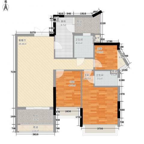 云裳丽影二期3室1厅2卫1厨132.00㎡户型图