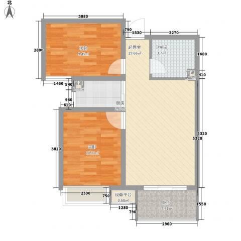 枫景华庭2室0厅1卫1厨73.00㎡户型图