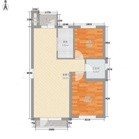 龙王塘一号2室1厅1卫1厨77.00㎡户型图