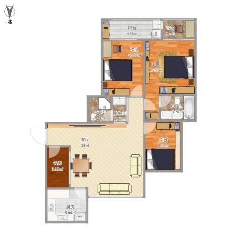 米兰花园5室1厅3卫1厨117.00㎡户型图