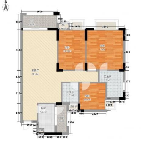 三正财富新地花园3室1厅2卫1厨111.00㎡户型图