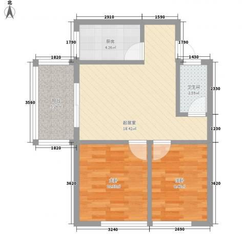 南天・凤凰城2室0厅1卫1厨68.00㎡户型图
