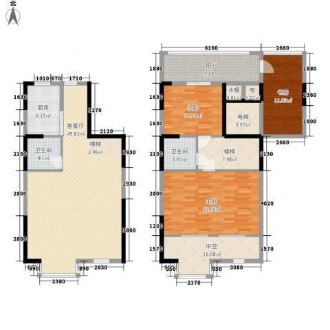 三泰茗居3室1厅2卫1厨196.00㎡户型图