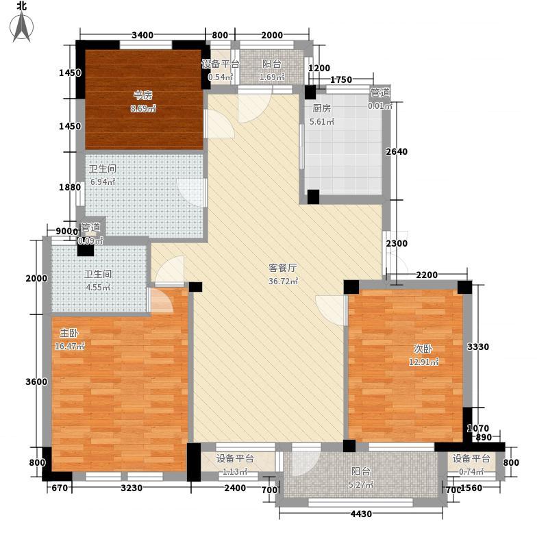 极地・盛世名都127.00㎡A21-b3户型3室2厅2卫