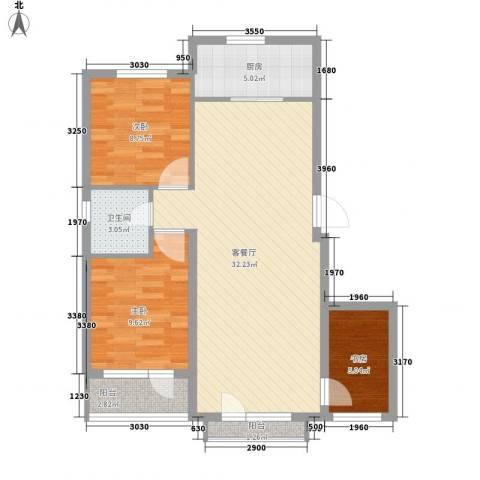 龙王塘一号3室1厅1卫1厨96.00㎡户型图