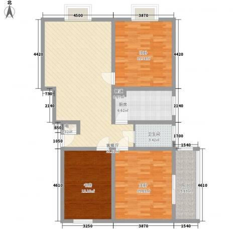 三泰茗居3室1厅1卫1厨120.00㎡户型图