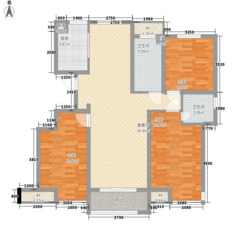 晶龙湾名苑3室1厅2卫1厨139.00㎡户型图