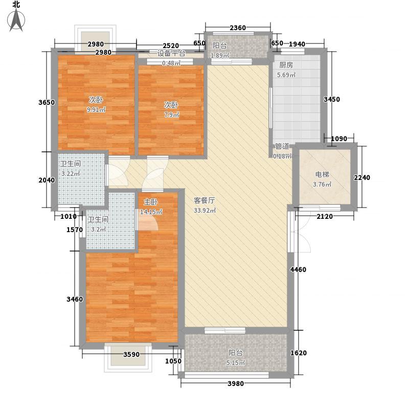 豪绅嘉苑128.00㎡B户型3室2厅2卫1厨