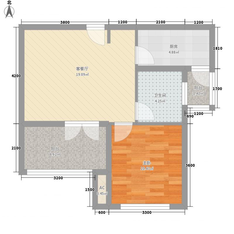 天惠・仙�郡61.55㎡天惠・仙�郡户型图高层B户型1室2厅1卫户型1室2厅1卫